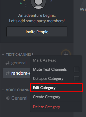 Discord Edit Channel button