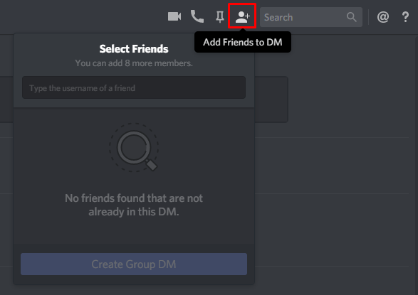 The 'Add Friends to DM' button in the Discord client