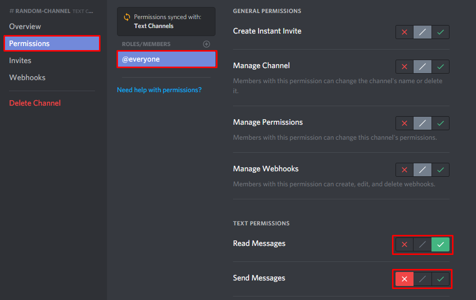 The settings of a locked Discord channel