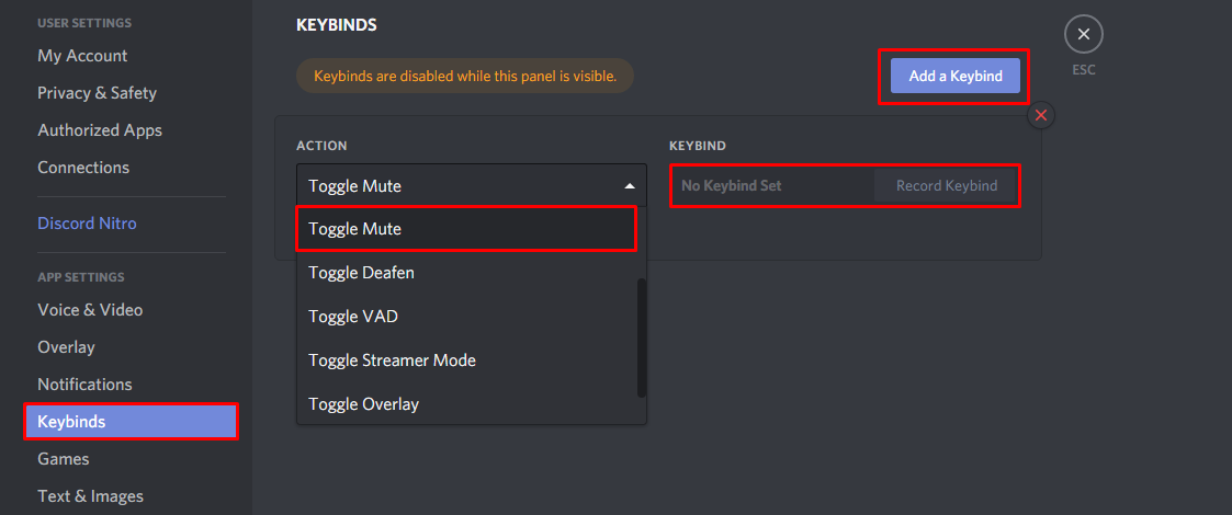 Where to navigate to in the Discord user settings to create a mute mic keybind