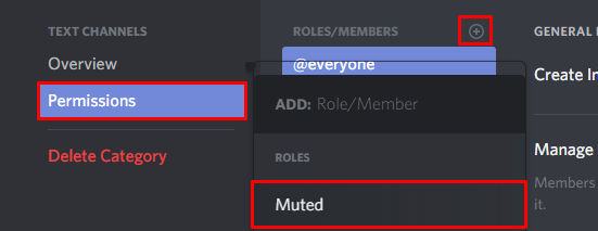Selecting the muted role we previously created