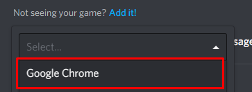 Google Chrome selected in the game dropdown menu, you can choose any application